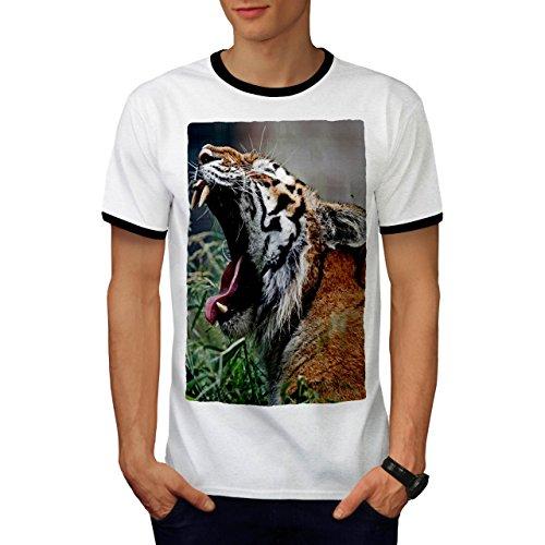 Tiger Gähnen Foto Tier Komisch Katze Herren S Ringer T-shirt   Wellcoda