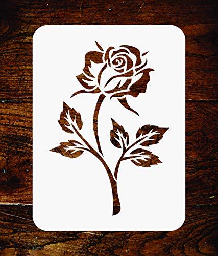 Pochoir simple rose - 7,5 x 11,5 cm - Réutilisable Bloom Flora Fleur