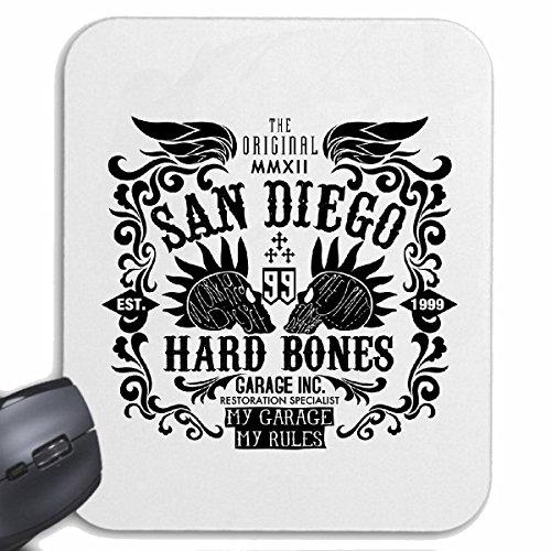 Reifen-Markt Mousepad (Mauspad) SAN Diego Hard Bones Skull BIKERSHIRT Gothic Bike Club MC Motorcycle Chopper Custom Motorrad MOTORRADTREFFEN Club TREFFEN für ihren Laptop, Notebook oder Internet PC (