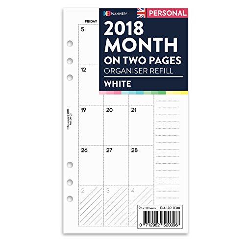2018Monat auf zwei Seiten Tagebuch Planner Refill Einsatz Filofax Personal kompatibel Farbige nbplanner aprikose (Planner Personal)