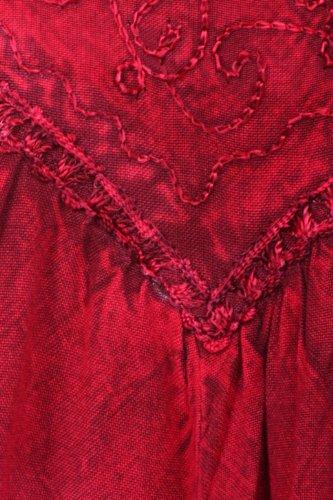 Sakkas Stein gewaschen Rayon gestickte verstellbaren Spaghettiträgern Langes Kleid Burgund
