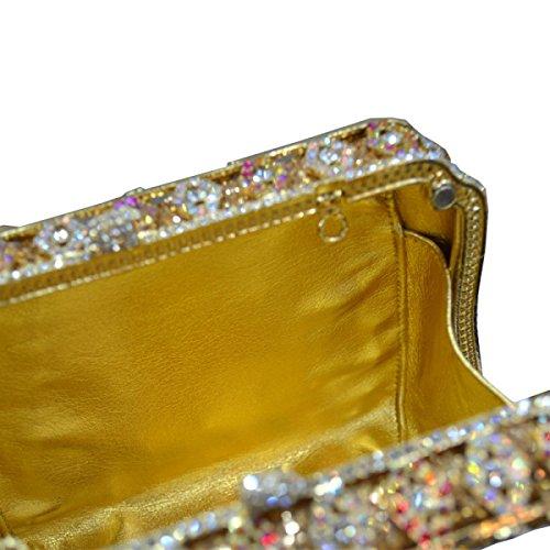 Damen Abendtasche Diamant Luxus Handtasche Gold