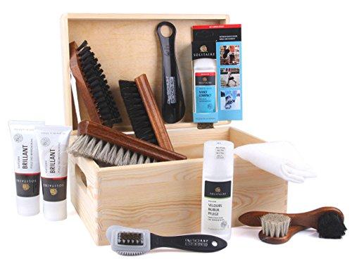 Die Schuhanzieher Conjunto de limpieza de botes Allround de 12 partes con una caja de madera práctica con el tamaño de 30 x 20 x 14 centímetros z2408