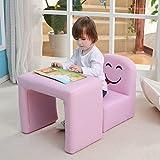 Multifunktionaler Kinder-Sessel von Emall Life, Set aus Kinder-Stuhl und -Tisch, Stuhl mit lustigem Gesicht, für Jungen und Mädchen