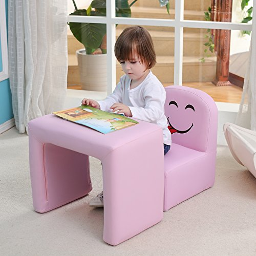 Multifunctional Children's Armchair, Emall Life Kids Chair and Table Set/Stool with Funny Smile Face for Boys and Girls (Pink)