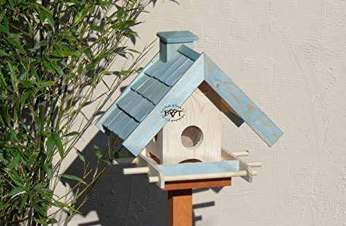 Vogelfutterhaus,BEL-X-VOWA3-türkis002 Großes Vogelhäuschen + 5 SITZSTANGEN, KOMPLETT mit Futtersilo + SICHTGLAS für Vorrat PREMIUM Vogelhaus - ideal zur WANDBESTIGUNG - vogelhäuschen, Futterhäuschen WETTERFEST, QUALITÄTS-SCHREINERARBEIT-aus 100% Vollholz, Holz Futterhaus für Vögel, MIT FUTTERSCHACHT Futtervorrat, Vogelfutter-Station Farbe türkis ANTIKBLAU meeresblau blau-grün / natur, MIT TIEFEM WETTERSCHUTZ-DACH für trockenes Futter