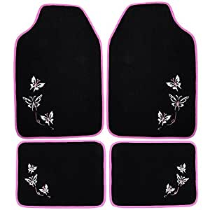 Tapis de sol voiture tapis tapis de voiture universel en tissu avec motif papillon, 4 pièces ondulée aM7141-noir/rose