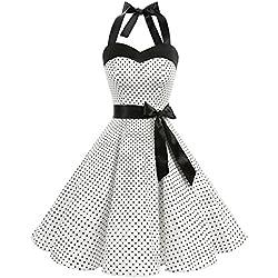 DRESSTELLS, Version3.0 Vintage 1950's Audrey Hepburn pin-up Robe de soirée Cocktail, Style Halter années 50 à Pois, Blanc L