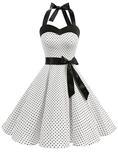 DRESSTELLS, Version3.0 Vintage 1950's Audrey Hepburn pin-up Robe de soirée Cocktail, Style Halter années 50 à Pois, Blanc XS