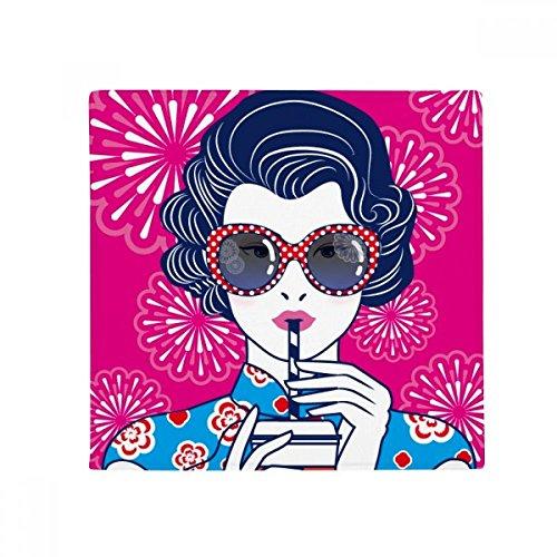 DIYthinker chinesischen Kultur rot Frau Brille Anti-Rutsch Boden Pet Matte quadratisch Badezimmer Wohnzimmer Küche Tür 60/50cm Geschenk, Gesponnenes Polyester, mehrfarbig, 50X50cm