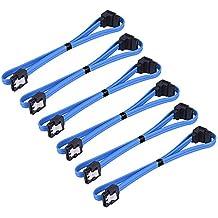 eBoot 6 Pezzi 18 Pollici SATA III 6.0 Gbps Cavo con Fermo di Bloccaggio e 90 Gradi Spina, Blu