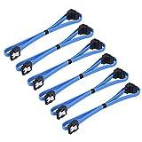6 Pezzi 18 Pollici SATA III 6.0 Gbps Cavo con Fermo di Bloccaggio e 90 Gradi Spina, Blu