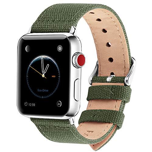 Fullmosa Kompatibel Apple Watch Armband 42mm 44mm in 8 Farben, Stoff Leinen Style für iwatch Armband 42mm Serie 3, Armeegrün 42mm/44mm -