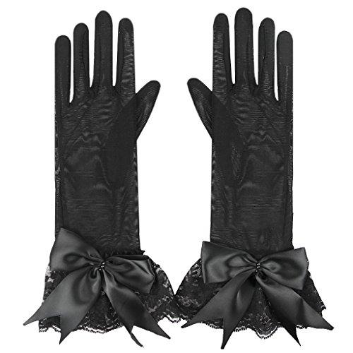 FakeFace Brauthandschuhe Fingerspitzen Handgelenk-Länge Handschuhe Brautaccessoires Spitze Tüll Party Abendhandschuhe für Frühling Sommer Herbst 1 ()