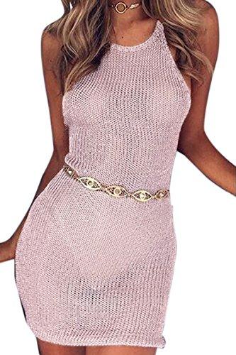 Donne Senza Maniche A Vedere Attraverso Slim Mini Club Bodycon Vestito Pink