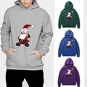 Amphia – Herren Santa Langarm Sweatshirt gedruckt,Männer Frau Winter Weihnachtsmann Print Langarm Kapuzenpulli Tops Bluse