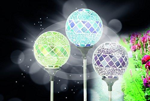 3er Set Solarleuchten Garten Kugel Solar Leuchte Mosaik Solarlampen Garten Kugeln Glas Edelstahl Mosaik Optik - wunderschöne beleuchetete Garten Dekoration im 3er Set - mit Lichtsensor und Erdspieß - auto ein / aus je nach Licht