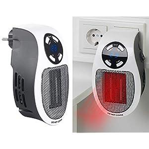 Sichler Haushaltsgeräte Steckdosenheizung: Steckdosen-Keramik-Heizlüfter mit Thermostat, Timer, Display, 500 Watt (Mini Heizlüfter)