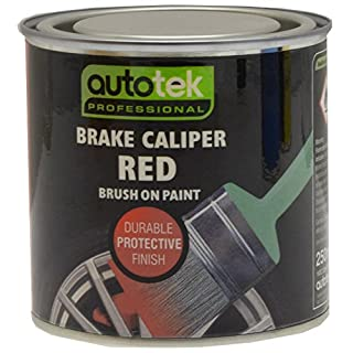 Autotek ATOOCALR250 Tin Brake Caliper Brush-On Paint, 250 ml, Red