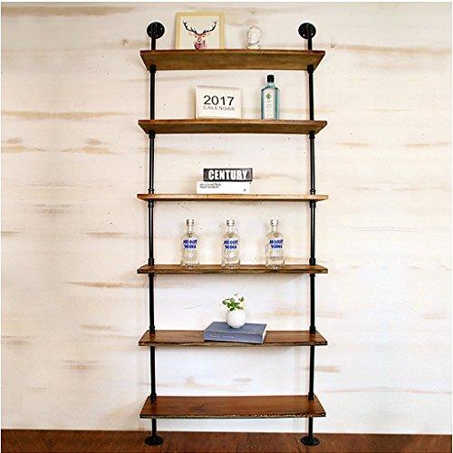 ZHEN GUO Industrielles Rohr-Bücherregal-Ausgangsorganisator-Speicher, schwarzes Metall u. Hölzerne rustikale sich hin- und herbewegende Buch-Regale an der Wand befestigte, Weinlese-dekorative, eiserne Bookacases ( ausgabe : 6 layer , größe : Width 31.5 inch )