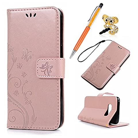 S8 Case Wallet - MAXFE.CO for Samsung S8 Case Rose Gold Flip Butterfly Embossed PU Leather Cover Bumper Stand Case for Samsung Galaxy S8 & One Touch Pen & One Dust Plug