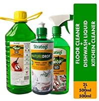 Herbal Strategi Floor Cleaner and Disinfectent 2 Litres, Dishwash liquid 500ml, Kitchen Cleaner Spray 500ml (Pack of 3)