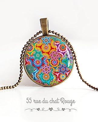 Collier pendentif cabochon 25 mm, fleuri, bohême chic, gypsy, multicouleur, ton fushia