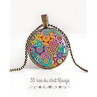 Collana cabochon pendente 25 mm, fioriti, bohémien chic, gitano, zingaro, multicolore, tono fushia