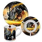 Dragons - 3-teiliges Porzellan Geschirr Set Frühstück Ohnezahn