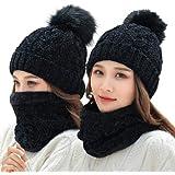 Tuopuda Cappello e Sciarpa Donna Invernali 2 Pezzi Pom Pom Cappelli Berretti in Maglia Beanie Loop Sciarpa Caldo Sciarpa Scal