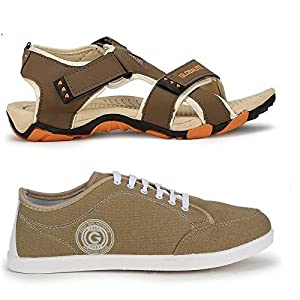 Globalite Men`s Casual Sandal & Sneaker Combo (Muskeeter-Beige Orange Sandal-Floaters+ Stumble-Beige white casual canvas Shoe) GSC0433_131