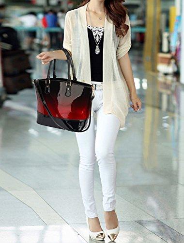 LeahWard Patent zwei Tone Taschen für Frauen Nizza Damen Tote Umhängetasche Handtasche 00329 (Marron/Burgund Zweifarbige Handtasche) BURGUND