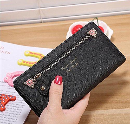 Hippolo Moda contratto ad alta capacità nuove donne di colore della caramella e borsa portafoglio borsa (Pink) Black