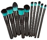 Gespout Pinceau de maquillage 10pcs Professional Brosse Sets Maquillage Noir et Vert Maquillage pour le visage et le maquillage des yeux