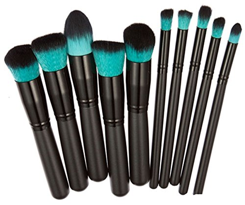 Dosige 10 pcs Set Multifonctionnel Pinceaux Professionnel Pinceaux de Maquillage Yeux Brosse de Brush Cosmétique Professionnel - Noir