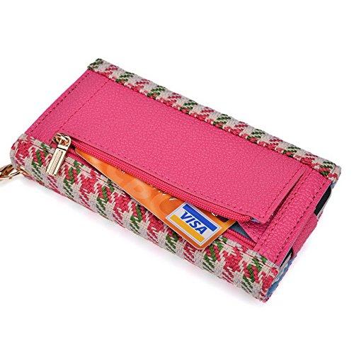 Kroo Housse de transport Dragonne Étui portefeuille pour Alcatel OneTouch Idol Mini/Pop C3/OT-992D Multicolore - Noir/blanc Multicolore - Pink Houndstooth and Magenta