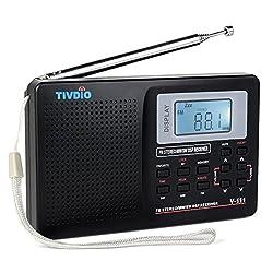Tivdio V-111 Portable Radio Fm Mw Shortwave Dsp World Band Pocket Receiver With Digital Alarm Clock & Sleep Timer (Black)