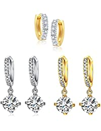 Lady Touch Combo Of Platinum Plated Crystal Clip-On Earrings For Girls & Women's (Pack Of 3)