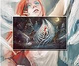 LONGYUCHEN Benutzerdefinierte 3D-Seide Wandbild Tapete Charakter-Muster Engel Schönheit Unter Dem Nachthimmel Geeignet Für Wohnzimmer Schlafzimmer Hotel Café Wohnkultur Wandbild,200Cm(H)×300Cm(W)