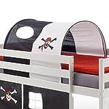 IDIMEX Tunnel MAX für Hochbett Rutschbett Spielbett Kinderbett, in schwarz/weiß Pirat