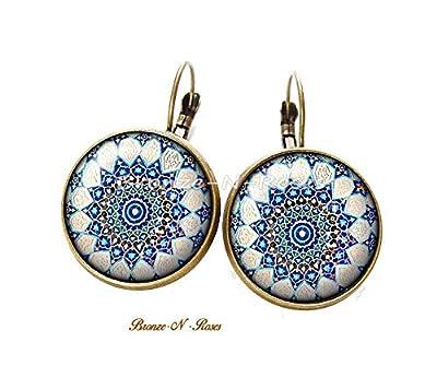 Boucles d'oreilles Mosaïque arabo andalouse cabochon bronze bleu dormeuses