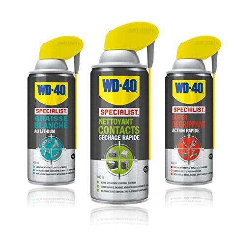 Pack WD40 Graisse blanche + Nettoyant contacts + Super dégrippant 400ml