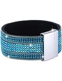 Morella Damenarmband Glitzerarmband mit Zirkoniasteinen und Magnetverschluss