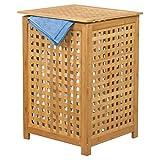 MSV Wäschetruhe Wäschekorb Holz Bambus 40x40x58cm als Wäschesammler mit luftdurchlässigem Deckel und herausnehmbaren Wäschesack