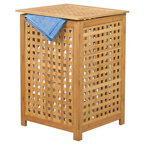 MSV Wäschetruhe Wäschekorb Holz Bambus 40x40x58cm als Wäschesammler mit luftdurchlässi