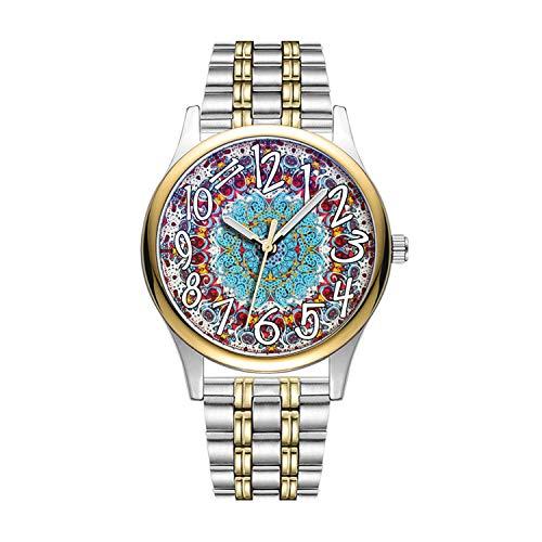 Personalisierte Minimalistische Brocade Geometric Fabric Drucken Wrist Uhren Goldene Fashion wasserdichte Sportuhr -