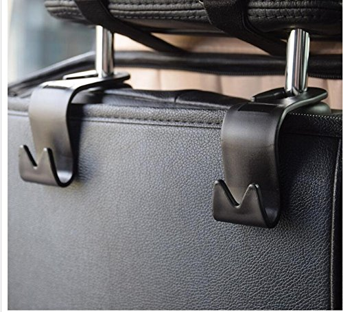 Preisvergleich Produktbild 4pcs Auto Lagerung Haken,Rücksitz Kopfstütze Haken - Mantel Geldbörse Handtasche Halter(Schwarz Satz von 4) Mayco Bell