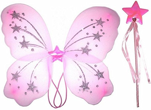 Damen Mädchen Schmetterling Fee Flügel und Zauberstab, weiß pink lila gelb