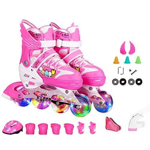 DSFGHE Rollschuhe Inline Skates Jungen und Mädchen Kinder Männer und Frauen Inline-Roller 3-10 Jahre Alte Anfänger Flash Atmungsaktiv Einstellbare Quad Stiefel Rollerblades Skate Set,Pink-M(35-38)