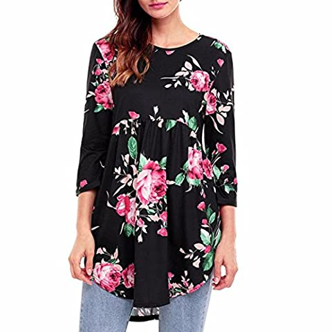 Lady T Shirt,Yannerr Autumn Casual Print Floral Three Quarter Sleeve Blouse (M)